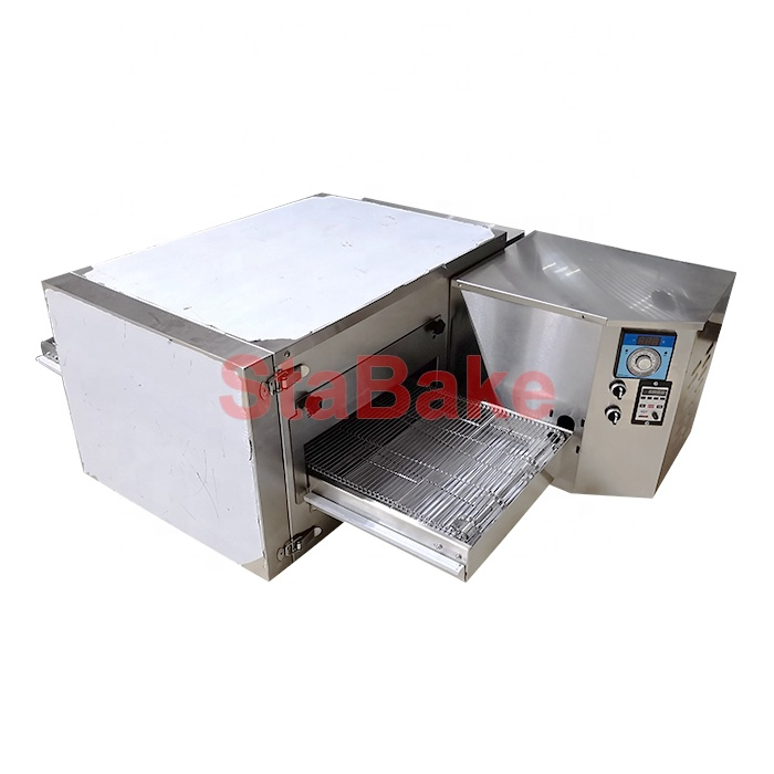 Commercial hot air circulating conveyor pizza baking oven